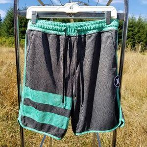 M Hurley green gray athletic shorts
